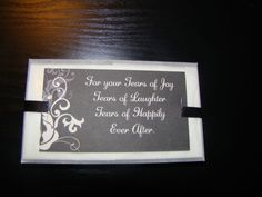 Tears of Joy Tissue Packets : wedding black ceremony diy white Wedding Projects 003 Tie The Knot Wedding, Diy Wedding, Wedding Church, Wedding Stuff, Wedding Ideas, Do It Yourself Wedding, Wedding Tissues, Tears Of Joy, Wedding Black