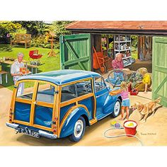 Shop Bits and Pieces jigsaw puzzle store for kids and adults! The granddaugher washes grandpa's car while grandpa fixes her brother's bike 300 piece jigsaw puzzle by artist Trevor Mitchell measures 18 x Ravensburger Puzzle, Morris Minor, Morris Traveller, Puzzle Art, Cartoon Art Styles, 5d Diamond Painting, Illustrations, Vintage Posters, Vintage Art