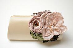 Shabby Chic Bridal Clutch or Bridesmaid Clutch - Champagne Flower Blossoms - Woodland Clutch - Medium Size Bouquet Clutch  by FallenSparrow