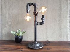 Custom Made Industrial Edison Bulb Light - Iron Pipe Table Lamp