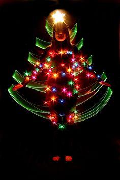 christmas tree light painting - Google Search