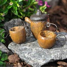 Acorn Tea Set. www.teeliesfairygarden.com . . . Who would have thought that acorns would make a superb Fairy Garden Tea Set? Without a doubt, fairies will have a fun tea time with this set. #fairyteaset