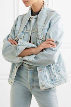 Balenciaga | Scarf frayed denim jacket | NET-A-PORTER.COM