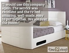 """York Leather White TV Bed Review """"I would use this company again. The service was excellent and the tv bed amazing ,well-made, easy to put together. We are over the moon."""""""