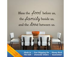 Food & Family  Vinyl Wall Decal Quotes  Vinyl by WallArtForAllAges