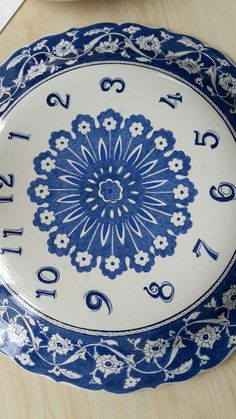 Tile Art, Clocks, Wall, Blue, Products, Dishes, Dibujo, Porcelain Ceramics