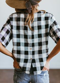 Button-back gingham top.