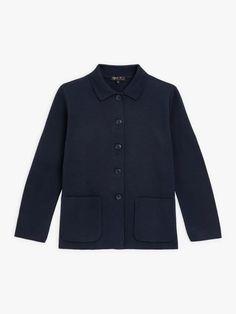 veste bleu marine en maille | agnès b. Fashion Pictures, Give It To Me, Sweaters, Jackets, Clothes, Collection, Navy Blue Vest, Woman, Down Jackets