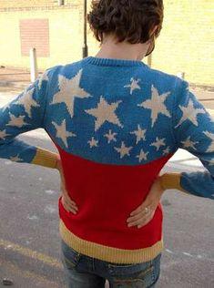The 'Wonder Woman Knit Sweater' is a Nostalgia-Filled DIY #DIY #wonderwoman #sweater