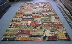 Handwoven Kilim Patchwork Made from Vintage Caucasian Turkish Rugs 11'9 x 7'5