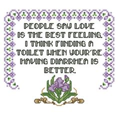 "PATTERN: Modern Funny Embroidery Quote ""Feelings"" Cross Stitch PDF Instant Download, Valentine, Love, Funny Meme, Subversive, Gross, Flower by SweetLittleFox on Etsy"