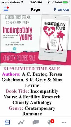"""**** """"Incompatibly Yours"""" -- multi author anthology supporting fertility research charities.   This is a truly wonderful anthology. Four very different pieces by four great authors. Each is a great read on its own...but the collection is truly special.   =================== **** """"Summer's Bay"""" by A.C. Bextor  I truly enjoyed this novel. It was well written and a fun, sweet, realistic book about love, faithfulness, friendship, family, and all that falls in between.  The author takes us on a…"""