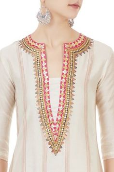 Best 12 Shop Chandni Rai - Off white chanderi gota embroidered kurta & dupatta Latest Collection Available at Aza Fashions Salwar Suit Neck Designs, Neck Designs For Suits, Kurta Neck Design, Neckline Designs, Kurta Designs Women, Designs For Dresses, Dress Neck Designs, Blouse Designs, Kurti Embroidery Design