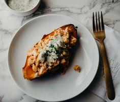 Stuffed Buffalo Chicken Sweet Potatoes |  Healthy Little Peach