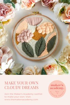 Make this gorgeous Cloudy Dreams pattern, plus many more, when you join the Maker's Academy! Me-time made easy. Join here: www.themakersacademy.com Craft Projects For Adults, Diy House Projects, Diy Craft Projects, Decor Crafts, Adult Crafts, Easy Crafts, Woven Wall Hanging, Easy Home Decor, Punch Needle