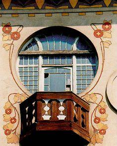Art Nouveau balcony in Prague, Czechia Art Nouveau Architecture, Art And Architecture, Architecture Details, Sand Crafts, Art Nouveau Design, Name Art, Sgraffito, Expo, Ceramic Decor