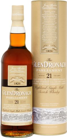 This is how the distillery describes it: Matured in a combination of the finest Oloroso and Pedro Ximenez sherry casks for a minimum of 21 years, the 'Parliament' continues the great Glendronach tradition of offering fruit-laden intensity in its single malts. Bottled at 48%, the 'Parliament' is non chill filtered and of natural colour. #glendronach