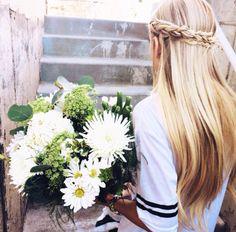 blonde braid + flowers