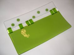 modern green and white arty glass platter Renewal is by jensstudio, $149.00