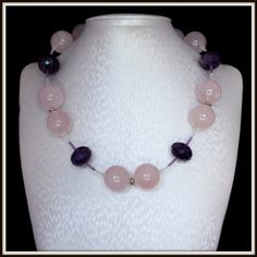 Rose Quartz and Amethyst Necklace Unique 181 inches 46 by Fagiano, $78.00