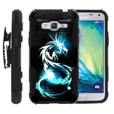 Galaxy J3, J310 Case CLIP ARMOR, Kickstand Holster Combo Set- White Dragon Samsung Galaxy J3 Case, Samsung Device, White Dragon, Cool Phone Cases, Screen Protector, Snug, Custom Design, Fingerprints, Amazon