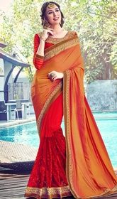 Orange and Red Color Silk Half N Half Sari #saridesigns #sarionlineshopinginusa Look pretty wearing this orange and red color silk half n half sari. The lace and resham work looks chic and aspiration for any get together. Upon request we can make round front/back neck and short 6 inches sleeves regular saree blouse also.  USD $ 98 (Around £ 68 & Euro 74)