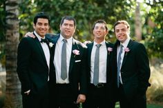 groom in bow tie, groomsmen in neck ties