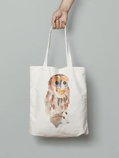 Owl hand bag- watercolor printed Watercolor Animals, Watercolor Print, Hand Bags, Reusable Tote Bags, Printed, Handmade, Bag, Hand Made, Handbags