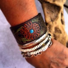 Tooled Leather Cuff Bracelet with Southwest Flower design, Ready to ship size 7""