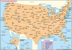The map of major US airports locates the major airports in the map. The map depicts the state boundaries, major cities, other cities along with Airport locations. The digital map is available in various editable and non- editable vector formats. Top Countries To Visit, Places To Travel, Places To Go, United States Map, Wall Maps, Us Map, Camping World, State Map, Digital
