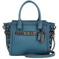 22d0312f5 Coach Swagger 21 Teal Leather Shoulder Bag (35.740 RUB) via Polyvore  featuring bags,