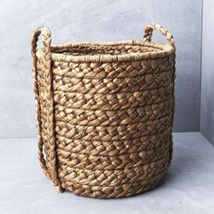 Large Waterhyacinth Basket with Plaited Handle from INARTISAN