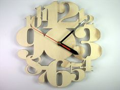 0778d3aaa638 Wooden Numbers Clock 25x25cm 10x10 by InvenioCrafts on Etsy