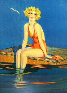 Gorgeous Art Deco Flapper Girl Sitting on the dock at the Beach in Bathing Suit by Henry Clive Giclee Fine Art Print 1922 Pinup Art, Arte Fashion, Rolf Armstrong, Pin Up Illustration, Art Deco, Arte Pop, Jazz Age, Bathing Beauties, Flappers