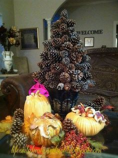 One tree with my fall decor.  For Christmas, I add bows or ribbons to dress it up!