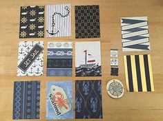 Pocket Letter or ATC Paper And Embellishments Nautical