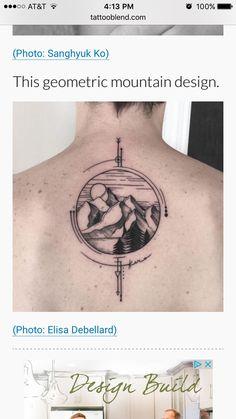 Compass tattoo. Mountain tattoo.