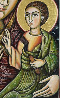 Mère de Dieu à l'enfant. Peinture à la main.  Icône orthodoxe et byzantine, traditionnellement représenté.