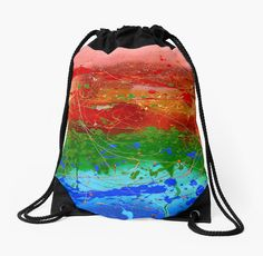 'Rainbow Abstract' Drawstring Bag by JuliaFineArt Framed Prints, Canvas Prints, Art Prints, Woven Fabric, Floor Pillows, Art Boards, Drawstring Backpack, Chiffon Tops