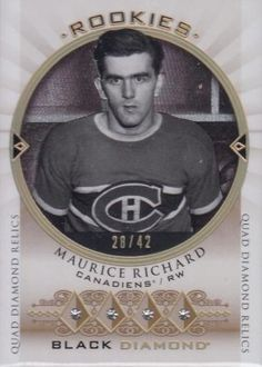 Black Diamond is an Upper Deck product best known for it's Rookie Gems diamond cards and jumbo manufactured patches. Hockey Cards, Baseball Cards, Maurice Richard, Gem Diamonds, Montreal Canadiens, Upper Deck, Black Diamond, Nhl, Gems