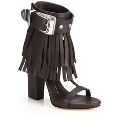 Giuseppe Zanotti Fringed Leather Sandals (3.879.760 COP) ❤ liked on Polyvore featuring shoes, sandals, apparel & accessories, dark brown, woven leather shoes, leather shoes, open toe sandals, braided leather sandals and fringe sandals