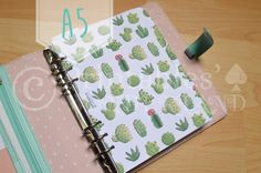 Cactus dividers set for A5 planners (A5 Filofax, large Kikki k, ...) instant download, dividers succulent cactus handdrawn pattern