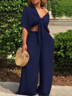 Shyfull Casual Deep V Neck Loose Dark Blue Two-piece Pants Set Classy Outfits, Chic Outfits, Summer Outfits, Fashion Outfits, Womens Fashion, Boho Fashion, Pool Party Outfits, Ladies Outfits, Horse Fashion