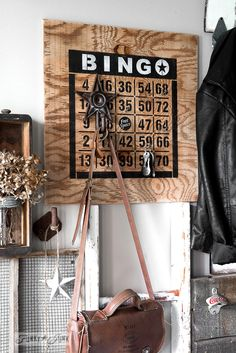 How to 2 colour stencil featuring a Bingo Board key organizer / Funky Junk's BINGO old sign stencil