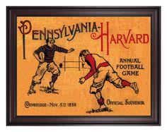 1898 Harvard Crimson vs Penn Quakers 36x48 Framed Canvas Historic Football Poster