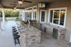 Outdoor Deck Kitchen Ideas | Mediterranean Patio outdoor bar Design Ideas, Pictures, Remodel and ...