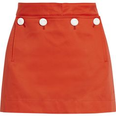 Acne Studios Dance Bonded cotton mini skirt (230 CAD) ❤ liked on Polyvore featuring skirts, mini skirts, bottoms, red, short red skirt, short skirts, button skirt, pocket skirt and red skirt