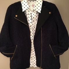 Forever 21 Boucle' Moto Jacket Navy blue Boucle' Moto jacket. New with tags.  Made of wool and poly.      Size small.   Really nice quality garment.  Great zippers on sleeves and front. Forever 21 Jackets & Coats Utility Jackets