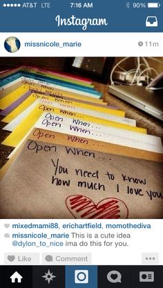 Cute idea leading up to wedding date.... Possibly each day from the month before.