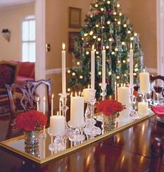 Elegant and simple Christmas table centerpiece